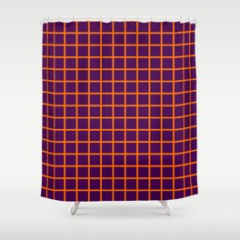 Orange On Purple Grid Shower Curtain