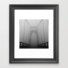 St Johns Bridge in Fog 2, Portland, Oregon Framed Art Print