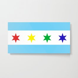 Chicago Pride Flag Blue Metal Print