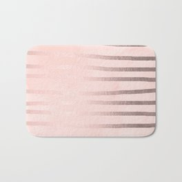 Rose Gold Pastel Pink Drawn Stripes Bath Mat