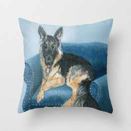 German Shepherd Angus Throw Pillow