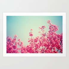 Pink Flowers in the Sky Art Print