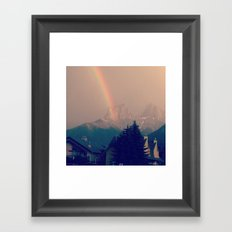rainbow in mountains Framed Art Print
