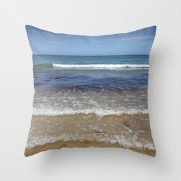 Waves Splashing onto a Sandy Beach Throw Pillow