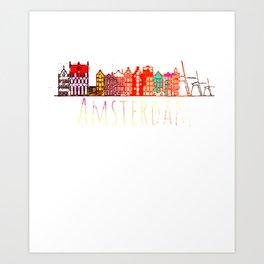 Amsterdam City Netherlands Souvenir Style Design Art Print