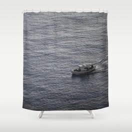 Sea and a boat Shower Curtain