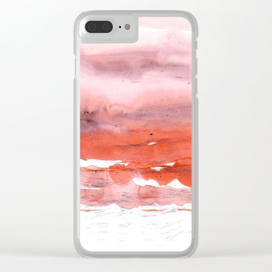 pink & modern orange Clear iPhone Case