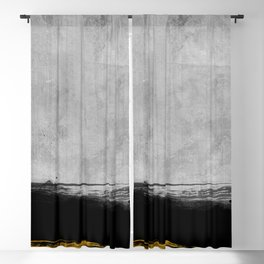 Black and Gold grunge stripes on modern grey concrete abstract backround I - Stripe - Striped Blackout Curtain