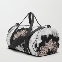 Gray Black White Agate with Rose Gold Glitter #1 #gem #decor #art #society6 Duffle Bag