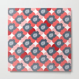Mid Century Modern Flower Trellis Pattern Red Coral and Slate Blue Gray Metal Print