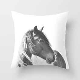 Stallion in black and white Throw Pillow