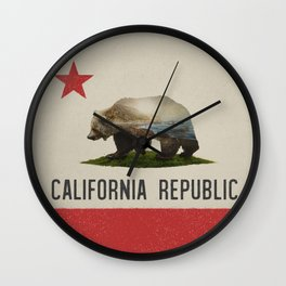 California Grizzly Bear Flag Wall Clock