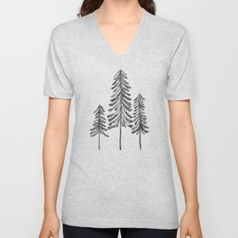 Pine Trees – Black Ink Unisex V-Neck