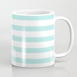 Aqua blue and White stripes lines - horizontal Coffee Mug