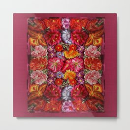 """Rose Huipil Embroidered"" Metal Print"