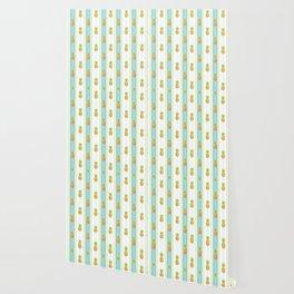 Vintage Glitter Pineapples Wallpaper