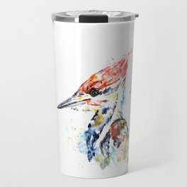 Woodpecker Colorful Watercolor Bird Painting Travel Mug