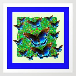 BLUE-BROWN BUTTERFLY GREEN ART Art Print