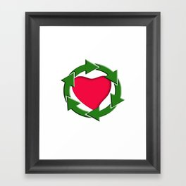 Recycle In Heart Framed Art Print