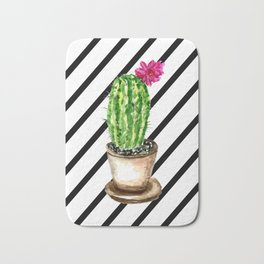 Blooming cacti on striped background Bath Mat