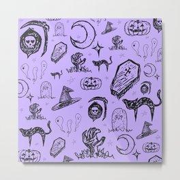 Halloween Doodles in Light Purple Metal Print