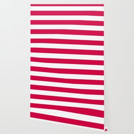 Rich carmine - solid color - white stripes pattern Wallpaper