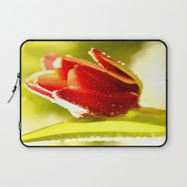 Glowing Red Tulip On A Vivid Green Background #decor #society6 Laptop Sleeve