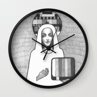 madonna Wall Clocks featuring tv madonna by Oxxygene