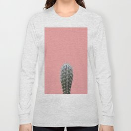 Cactus on pink background Long Sleeve T-shirt