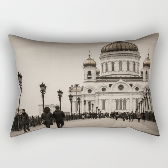 the Cathedral of Christ the Savior in Moscow in Sepia Rectangular Pillow