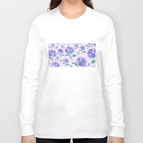 purple blue hydrangea in purple background Long Sleeve T-shirt