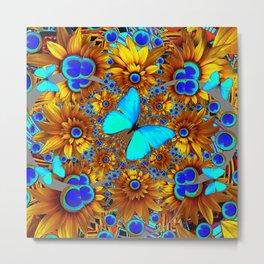 BLUE & GOLD ART DECO BUTTERFLIES & FLOWERS VIGNETTE Metal Print