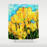 tulips Shower Curtains featuring Tulips  by sladja
