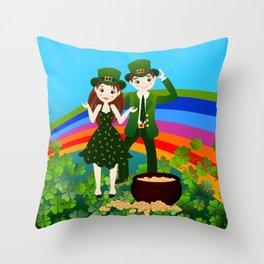 Kids and Saint Patrick Day Throw Pillow