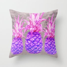 Pineapple on silver Throw Pillow