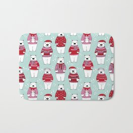 Polar Bear character cute christmas sweater polar bears nature illustration pattern Bath Mat