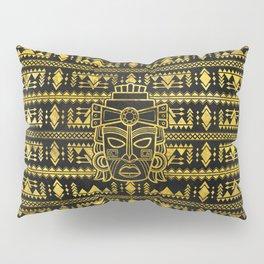 Gold  Aztec Inca Mayan Mask Pillow Sham