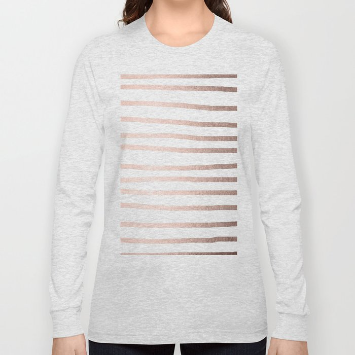 Simply Drawn Stripes Moon Dust Bronze Long Sleeve T-shirt