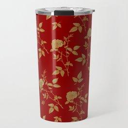 GOLDEN ROSE FLOWERS ON BURGUNDY Travel Mug