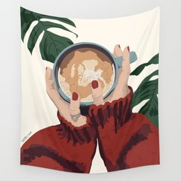 Coffee and Plants Wall Tapestry