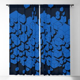 3D Cobalt blue Cubes Blackout Curtain