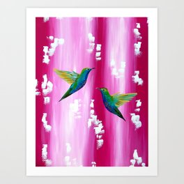 Pink and green with white Art Print