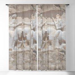 Persian Knights, King Ardashir Monument, Nagsh and Rostam, Iran Sheer Curtain