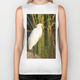 Egret at the lake Biker Tank