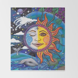 Sun and Moon Art by Julie Oakes Throw Blanket