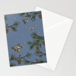 FLYING SQUIRRELS IN THE PINES (twilight) Stationery Cards