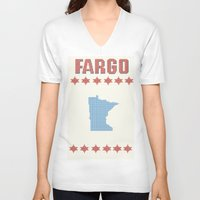 fargo V-neck T-shirts featuring Fargo Cross Stitch by Cameron Chapman