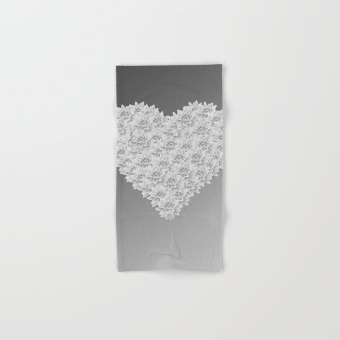 White heart Hand & Bath Towel