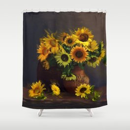 Baskets of Sunfowers Shower Curtain