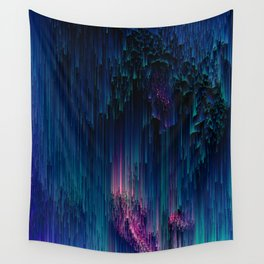 Glitchy Night - Abstract Pixel Art Wall Tapestry